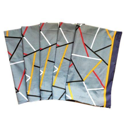 Fehér alapon szürke csíkos - flamingó mintás pamutvászon textil