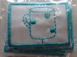 Felvarrható ovis jel - ovis címke - bögre, 4 x 3 cm, 5 db - os csomagban.