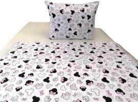 Rózsaszín masnis egérfejes 2 részes 100% pamut ovis ágynemű huzat