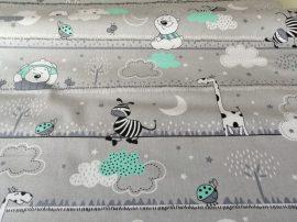 160 cm széles pamut méteráru szürke-türkiz állatos mintával