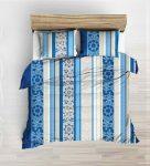 Szürke alapon kék rózsás - pillangós 3 részes ágynemű huzat szett 140x220 cm