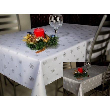 Kétoldalas karácsonyi asztalterítő - ezüst hópelyhes mintával 140x180 cm