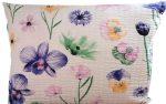 Krepp kispárna huzat modern szürke - kék mintával 40 cm x 50 cm