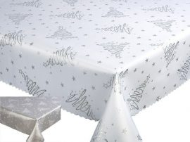 Karácsonyi terítő 140x220 cm - ezüst fenyőfás - megfordítható