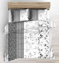 100% pamut 3 részes huzat garnitúra 140x220 cm fekete - szürke  inda mintás