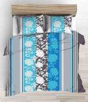 100% pamut 5 részes kétszemélyes ágynemű huzat garnitúra 200x220 cm - kék barokk