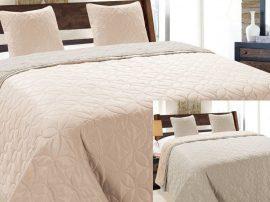 Arany - bézs 3 részes hímzett ágytakaró szett 220x240 cm