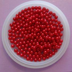 Fűzhető akril gyöngy piros, 6 mm