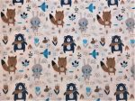 Fehér alapon szürke - kék erdei állatos flanel textil