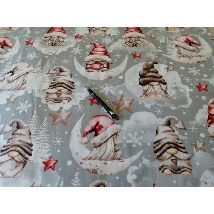 Manós - csillagos karácsonyi pamutvászon - barna - piros