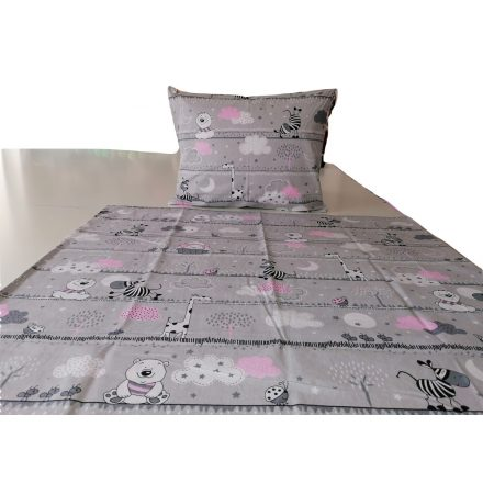 2 részes ovis ágynemű huzat - szürke - rózsaszín állatos