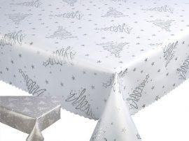 Karácsonyi terítő 140x180 cm - ezüst fenyőfás - megfordítható