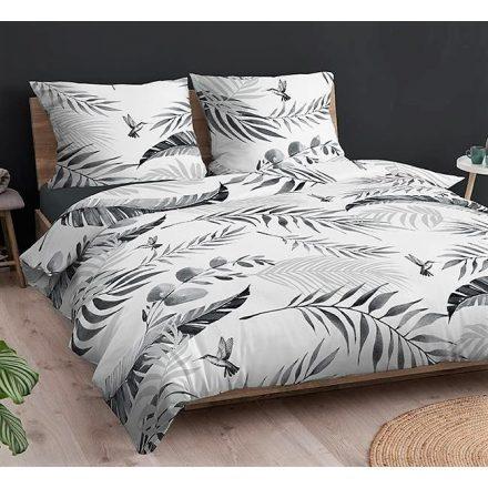 100% pamut 3 részes ágynemű huzat 140x200 cm -  bézs alapon fehér virágos