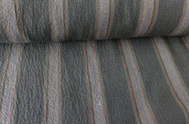 150 cm széles, zöld alapon szürke és narancs csíkos, rugalmas textil.