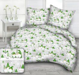 140x200 cm karácsonyi szürke - világos zöld manó mintás ágynemű huzat