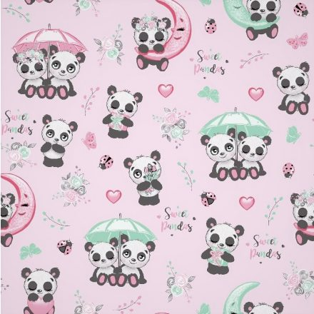 Rózsaszín alapon édes panda mintás pamutvászon - 160 cm