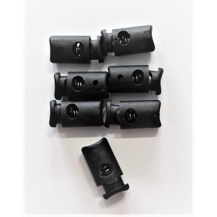 Zsinór szabályozó - összehúzó műanyag, egy lyukú ¤ 3 mm, rugós fekete színű.