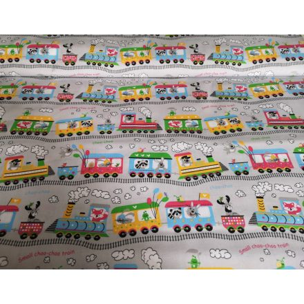 Szürke alapon színes vonat - állat mintás 100% pamut textil, 160 cm széles.