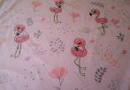 Sötétzöld alapon flamingó mintás 160 cm széles 100% pamutvászon