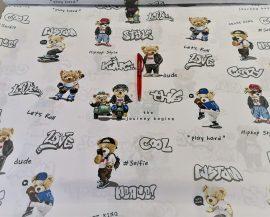 Bohóc mintás gyermek textil - méteráru pamutból.