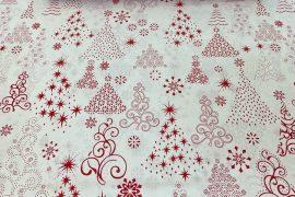 Piros karácsonyfa mintás pamut textil.