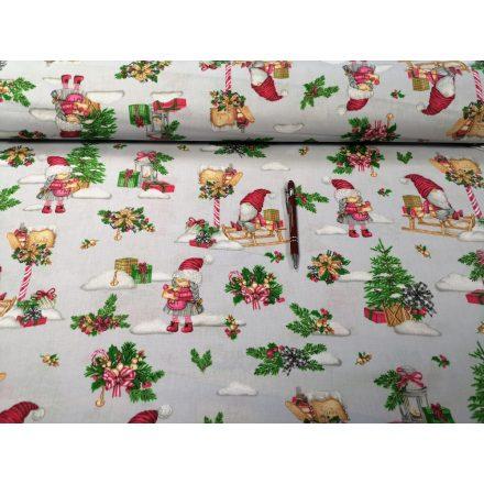 Szürke madár - virág mintás pamutvászon