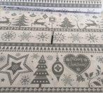 Szürke mintás karácsonyi pamut textília 160 cm széles.