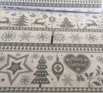 Szürke mintás karácsonyi pamut textília 160 cm széles