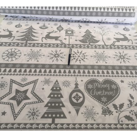 Szürke karácsonyi mintás pamutvászon textília 160 cm széles