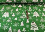 Zöld - fehér fenyőfás karácsonyi pamutvászon textília 160 cm széles.