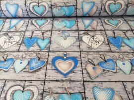 Kék - szürke szíves pamutvászon textília 160 cm széles.