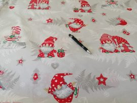 Hóember - rénszarvas mintás 100% pamutvászon karácsonyi textília.