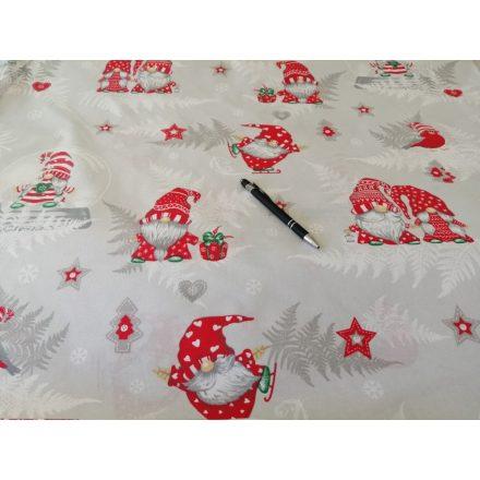 Piros páfrányos manó mintás karácsonyi pamutvászon - 160 cm széles