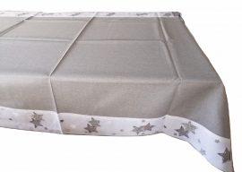 110x160 cm ezüst - fehér csillagos karácsonyi abrosz.