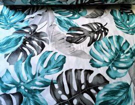 Fehér - kék virágos polyester textil - méteráru