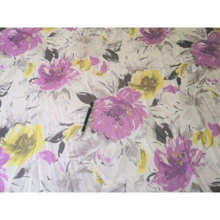 Sárga lila nagy virágmintás muszlin méterárú 140cm.