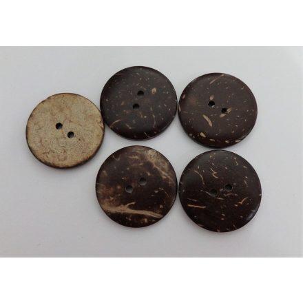 Fagomb hatású, barna színű, két lyukú ¤ 27 mm