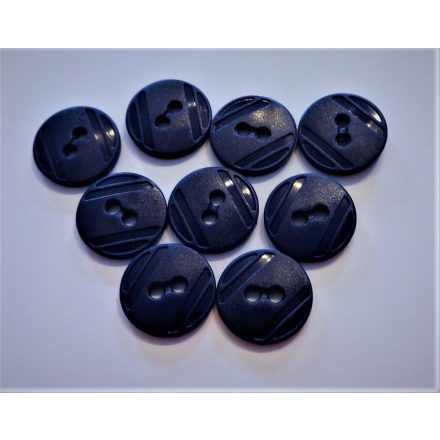 Műanyag gomb, két lyukú átvarrós ¤ 16 mm sötétkék színű