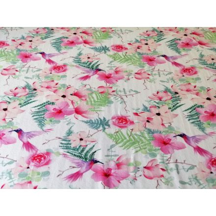 Pink madár mintás elasztikus pamut jersey - 165 cm