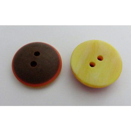 Műanyag 2 lyukú gomb barna - narancssárga színű, ¤ 16 mm