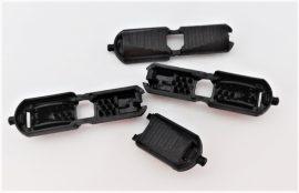 Zsinórvég, kicsi fekete, műanyag, pattintós, ¤ 3-5 mm-es zsinórhoz