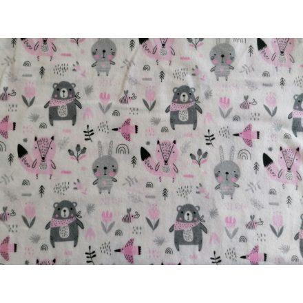 Fehér alapon szürke - rózsaszín erdei állatos flanel textil