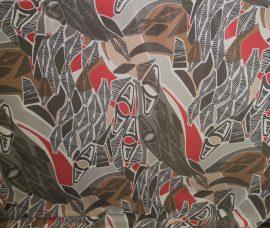 Muszlin anyag barna - piros mintás - 150 cm