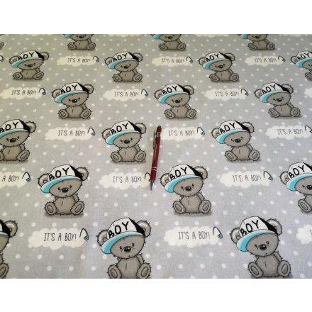 Szürke alapon koala maci mintás flanel textil