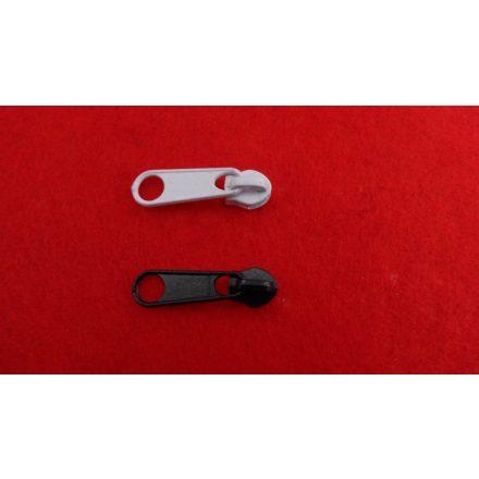RT0-ás laza  fém cipzárkocsi, spirál fogazatú cipzárhoz, fekete és fehér színben - 3 mm-es.