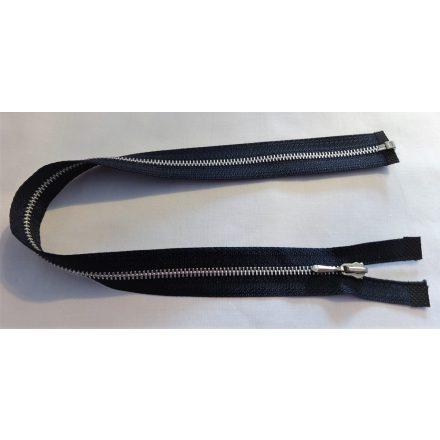 40 cm hosszú, fém bontható cipzár - húzózár, sötétkék színű.