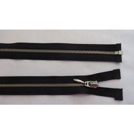45 cm hosszú, bontható fém cipzár, fekete színben, arany színű fogazattal.