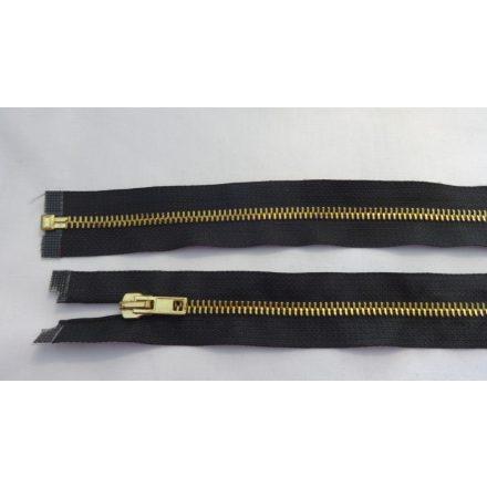 55 cm hosszú, bontható fém cipzár, fekete színben, arany színű fogazattal.