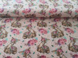 Őz - őzike mintás pamutvászon textil.
