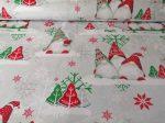 Piros - zöld karácsonyi manós mintás pamut textília.